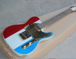 $enCountryForm.capitalKeyWord Australia - free shipping Factory Red White and Blue Electric Guitar with Shiny Paint,Gold Pickguard,String-Thru Body,Rosewood Fretboard,Can be Customiz