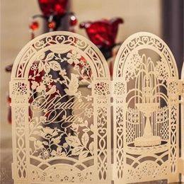 Custom wedding invitations online shopping - New Creative Gold Custom Wishmade Laser Cut Wedding Invitation Cards Kit With Envelopes Seals Bardian Printing For Birthday fm
