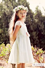 flower girls short lace dresses Canada - Short Lace Ivory Kids Girls Formal Dress Flower Girl Dress with Sweetheart Back for 3 4 5 6 7 8 year old