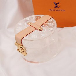 Tennis earrings online shopping - Personality Transparent Women Handbag Fashion Brand Logo Printed Bag Mini Necklace Earrings Jewelry Storage Box for Gift