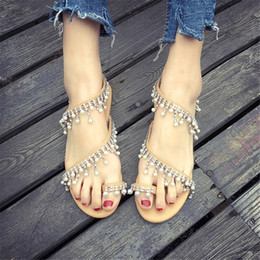 437990fb746d86 Pearl Shoe Bead NZ - Women Sandals Summer Shoes Flat Pearl Sandals  Comfortable String Bead Slippers