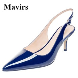 Peach Women Shoes NZ - MAVIRS Brand Women Pumps 2018 Spring Pointed Toe Patent 6.5CM Stiletto Blue Black Red White Peach Dress Bride Shoes US Size 5-15