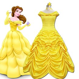 beauty beast costumes 2019 - Beauty Beast Princess Belle Costume Evening Cosplay Gown Dress
