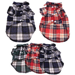 $enCountryForm.capitalKeyWord Australia - Pet clothing fashion handsome plaid dog shirt cotton casual dog lapel T blood new wholesale