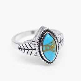 bride engagement rings Australia - Antique Jewelry 925 Sterling Silver Turquoise Natural Gemstone Bride Wedding Engagement Vintage Ring Gifts Size 6-10