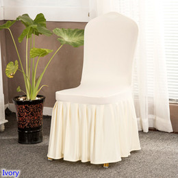 wedding chair wholesale Canada - Ivory Colour skirted chair covers spandex lycra universal ruffled chair covers wedding hotel banquet decoration ruched thick