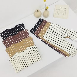 Wholesale black jacket puff sleeves resale online – INS Fall Infant Toddler Kids Boys Girls Pajamas Suits Long Sleeve Polka Dot Tshirts Pants pieces Suits Cotton Quality Kids Clothing Sets
