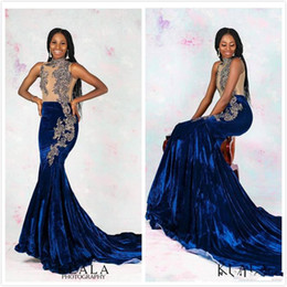 VelVet maternity dresses online shopping - Arabic Royal Blue Mermaid Evening Dresses lace Velvet Sexy Prom Dresses Cheap Elegant Formal Party Second Reception Gowns robe de soiree