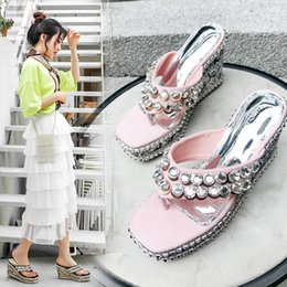 rhinestone gladiator flip flop NZ - Alluring2019 Slipper Second Posimi Flip Flops Rhinestone A String Of Beads Sandy Beach Flange High With Sandals 8888