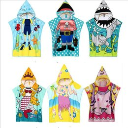 Bathrobe Towels for Kids Poncho Beach Towel Cotton Softest Quick Dry Hooded  Kids Shark Towel for Toddler 8 Colors 96fb316d0