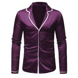 Color Clothing Australia - Elegant Purple Dinner Shirt Gentleman Wear Turn-down Collar Party Clothes Long Sleeve Solid Color Men Shirts Europe Loose Tops
