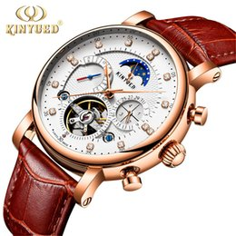 Luxury Men Watch Tourbillon NZ - KINYUED Moon Phase Mens Mechanical Watches Automatic Tourbillon Skeleton Watch Men Calendar Relogio Masculino dropship 2019 New