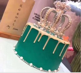 ClassiC birthday Cakes online shopping - Full circle pearl crown birthday cake crown baking decoration headwear