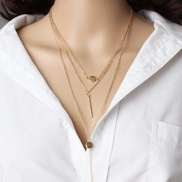 Discount small metal plates - European and American foreign trade new jewelry simple 3 layer necklace small round exquisite metal rod accessories hang