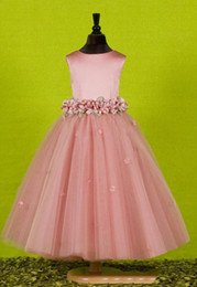 images beautiful cute pink gown NZ - Custom Made Beautiful Pink Flower Girls Dresses for Weddings 2019 Pretty Formal Girls Gowns Cute Satin Puffy Tulle Pageant Dress Spring