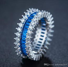 Princess cut gemstone rings online shopping - 2017 Luxury Jewelry KT White Gold Filled Princess Cut Blue Sapphire CZ Diamond Gemstones Wedding Women Band Ring Gift Size