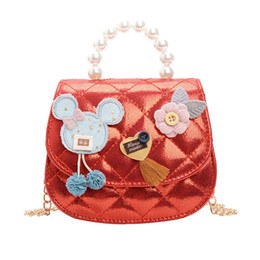 children crossbody bag NZ - Kids Bag Cell Phone Pouches Satchel Five Colors Children Bags Pearl Accessories Hand Strap Crossbody Bag