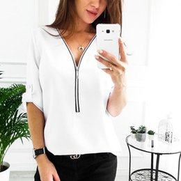 $enCountryForm.capitalKeyWord Australia - Zipper Short Sleeve Women Shirts Sexy V Neck Solid Womens Tops And Blouses Casual Tee Shirts Tops Female Clothes Plus Size 5XL