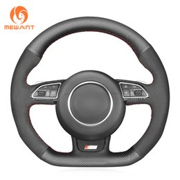 genuine leather cover for s4 NZ - MEWANT Black Genuine Leather Suede Car Steering Wheel Cover for Audi S1 8X S3 8V Sportback S4 B8 Avant S5 8T S6 C7 S7 G8 RS Q3 8U SQ5 8R