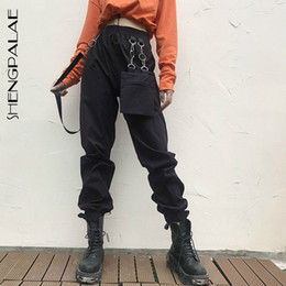 woman s waist bag Canada - SHENGPALAE 2020 Spring Vintage Patchwork Joggers Sweatpants Harajuku Woman Trousers Elastics High Belt Bag Waist Pants 2526