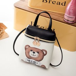 free christmas mobile UK - Fashion women shoulder bags cartoon bear PU Handbags Female zipper Mobile Phone Messenger bags free shipping