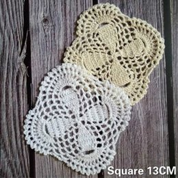 CroChet square doilies online shopping - 13CM Handmade Vintage Cotton Crochet Square Table Placemat Dining Doily Coffee Drink Cup Coaster For Wedding Party Home Kitchen