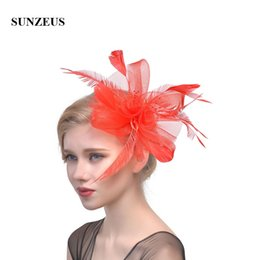 $enCountryForm.capitalKeyWord Australia - Feathers Tulle White Wedding Hats for Bride Flora Sexy Girls Dancing Hats Hair Accessories Women's Party Hats