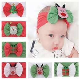 Hair band bow style online shopping - New Arrival styles Christmas baby Girl Nylon headband Soft Reindeer Antler Santa Children Flower Bow Hair Band Hair accessories