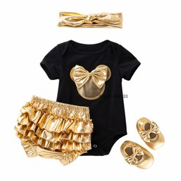 wholesale rompers bloomers Australia - Baby Girl Clothes 4 PACK Clothing Sets Black Cotton Rompers Golden Ruffle Bloomers Shorts Shoes Headband Newborn Clothes