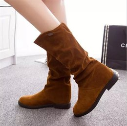 Lady Snow Boots Mid Calf Australia - Xda 2019 Autumn Winter Women Boots Flock Scrub Martin Boots Ladies Increased Low Heel Shoes Mid Calf Long Snow Boots Size 40 A06