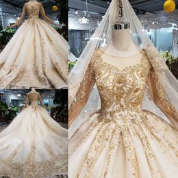 high quality wedding dresses Canada - Gorgeous High Quality Ivory with gold lace wedding dresses Vintage long sleeve princess Bridal Gowns luxury wedding dress Vestidos De Novia