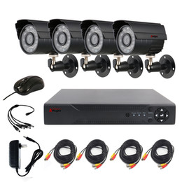 Anspo 4CH AHD Home Security Camera System Kit Waterproof Outdoor Night Vision IR-Cut DVR CCTV Home Surveillance 720P Black Camera System on Sale
