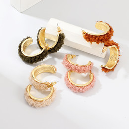 ring shaped earrings NZ - NAIZHU New Design C-shaped Stud Earrings Wedding Earrings Wedding Trendy Accessories Earrings Party & Events Jewelry Accessories