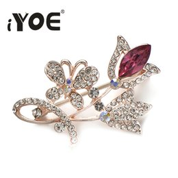 beautiful butterfly wedding dresses Canada - heap Brooches IYOE Crystal Rose Flower Women Brooch Pin Wedding Dress Decoration Beautiful Butterfly Brooches Bouquet Vintage Elegant Bro...