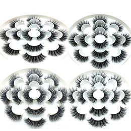 Venta al por mayor de Visón 3D pestañas pestañas falsas naturales extensión de la pestaña Faux falso ojo pestañas herramienta de maquillaje 7 pares / set RRA649