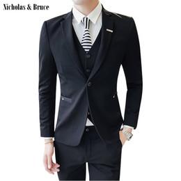 3576d47bd5 N&B (Jacket+Pant+Vest) Men Suits 2019 Slim Fit Male Blazers 3 Piece Suit  Wedding Suits Business Formal Party Classic Coats SR35