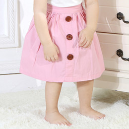 Discount pink baby designer dresses - Baby Solid Color Skirt Kids Designer Clothes Girls Baby Multicolor A Skirt Button Decorated Princess Dress 19