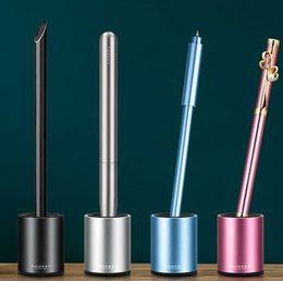 Metal Inserts Australia - Creative Metal Penholder Office Stationery Penholder Single Pen Insert Student Desktop Arrangement Paper Town