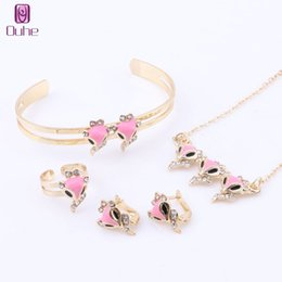 $enCountryForm.capitalKeyWord Australia - Trendy Girl Jewelry Lovely Crystal Cute Fox Children Necklace Bangle Earring Ring Kids Baby Costume Jewelry Set And Boxes