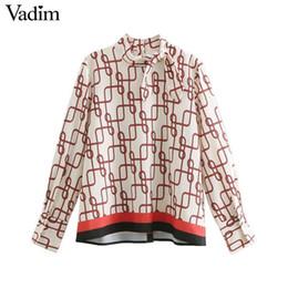 $enCountryForm.capitalKeyWord Australia - Vadim Women Elegant Chain Pattern Blouse Bow Tie Collar Long Sleeve Shirts Female Work Wear Casual Stylish Chic Tops La860 J190618