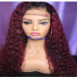 $enCountryForm.capitalKeyWord Australia - Ombre 1b 99j# Color Brazilian Human Hair Full Lace Wig curlyTwo Tone Lace Front Wig 130% density