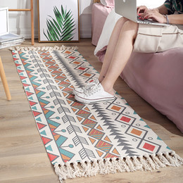 rooms tapestries 2019 - Ethnic Carpet Kitchen Mats For Floor Long Strip Geometric Kilim Carpets Nordic Bedroom Rug Cotton Oriental Decor Tapestr