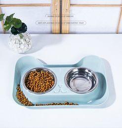 Großhandel Double Dog Cat Bowls Hundenäpfe Edelstahl Pet Food Wasser-Zufuhr für Haustiere Welpen Small Medium Hunde
