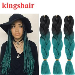 $enCountryForm.capitalKeyWord Australia - 24 Inch Jumbo Box Braids Crochet Braid Hair Ombre Green kanekalon Synthetic Braiding Hair Extensions for Black Women 100g pack