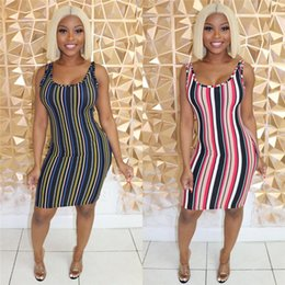 $enCountryForm.capitalKeyWord Australia - Womens Striped Print Belt Dresses Casual Sexy Sling Scoop Neck Dress Base Apparel Strap Sashes Sleeveless Clothing