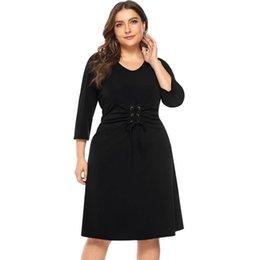88f43e0161 WHZHM Red Party Plus Size 3XL 4XL Dress Women Vestido Autumn Sashes V-Neck  Casual Spring A-Line High Waist Black Solid Dress