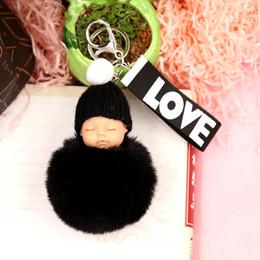 Chinese  Cute Female sleeping Doll hair Ball Key Ring Pendant LOVE Ribbon Plush Doll Key Ring Wool Pompom Cartoon bag hanging D435 manufacturers