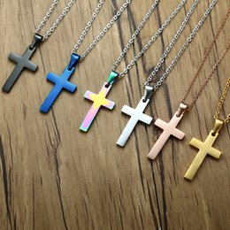 stainless steel blue crosses 2019 - JHSL Classic Men Cross Pendants Necklaces Black Blue Silver Rose Gold Color Stainless Steel Chain Fashion Jewelry cheap