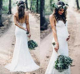$enCountryForm.capitalKeyWord Australia - 2020 White Sexy Spaghetti Straps Mermaid Full Lace Wedding Dresses Backless Plus Size Sweep Train Garden Country Pregnant Bridal Gowns