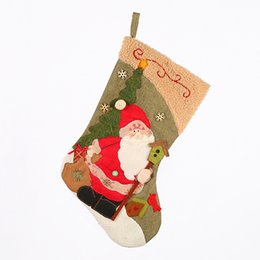 high end christmas ornaments UK - Traditional High-End Large Linen Cashmere Santa Snowman Gift Bag Christmas Decorative Socks Christmas Stockings